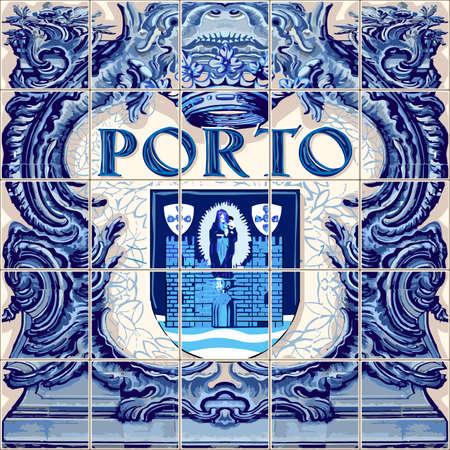 포르토 포르투갈 세라믹 타일 포르투갈어 기호 벡터 청금석 파란색 그림