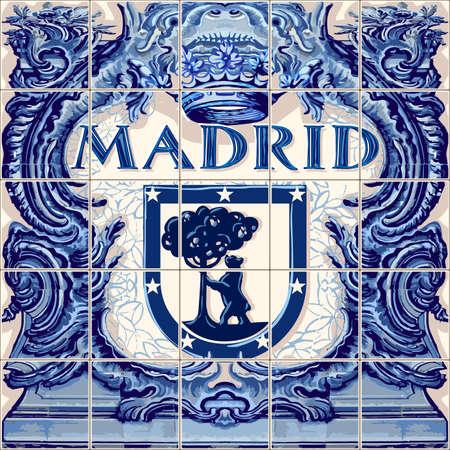 마드리드 스페인어 세라믹 타일 스페인 기호 벡터 청금석 그림 파란색 일러스트