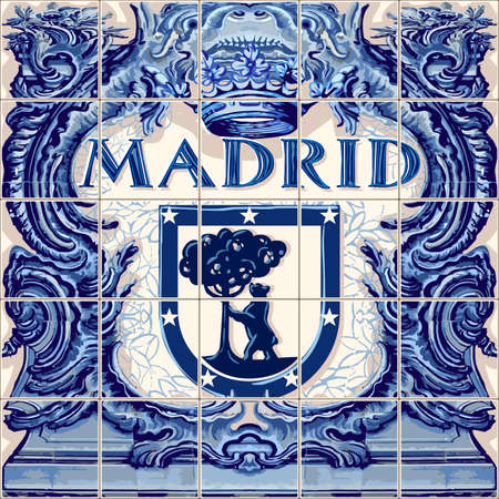 Madrid Spanish ceramic tiles Spain symbol vector lapis blue illustration