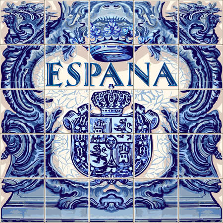 Spain symbol Spanish ceramic tiles vector lapis blue illustration Иллюстрация