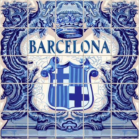 바르셀로나 스페인 세라믹 타일 스페인 기호 벡터 청금석 파란색 그림