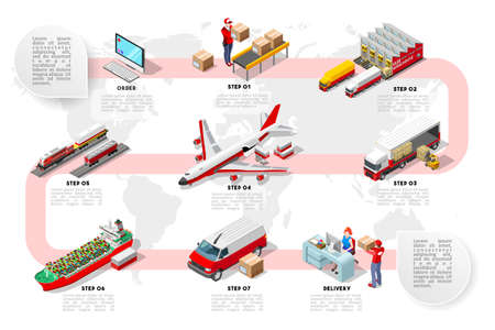 International trade logistics network infographic vector illustration with isometric vehicles for cargo transport. Flat 3D Sea freight, road freight and air freight shipping on-time delivery Çizim