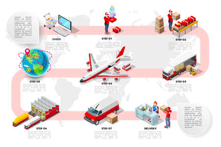 International trade logistics network infographic vector illustration with isometric vehicles for cargo transport. Flat 3D Sea freight, road freight and air freight shipping on-time delivery Vettoriali
