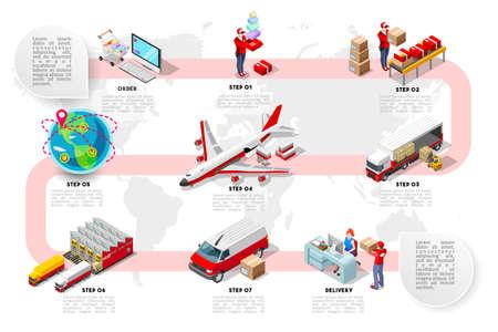 Ilustración de vector de infografía de red de logística de comercio internacional con vehículos isométricos para el transporte de carga. Flete plano 3D, carga por carretera y flete aéreo entrega a tiempo