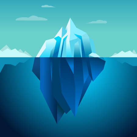 tip of iceberg: Blue background vector iceberg