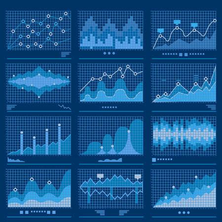 Big data blueprint data analytics blue background vector illustration  イラスト・ベクター素材