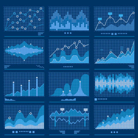 Big data blueprint data analytics blue background vector illustration Çizim