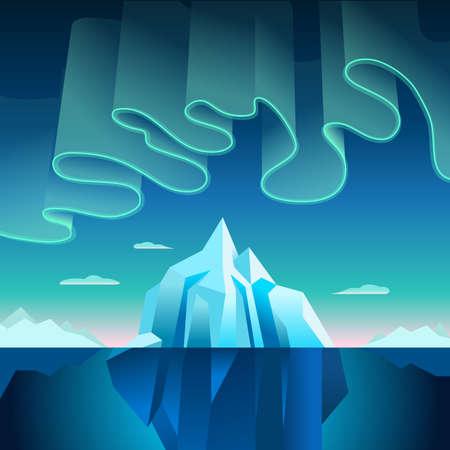 오로라 보 리 얼리스 북부 파란색 배경 벡터 녹지 그라디언트 조명 그림