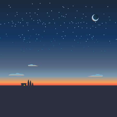 Sonnenaufgang Hintergrund oder Sonnenuntergang Tapete Vektor