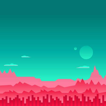 아케이드 게임 배경 화성 우주 환경 벡터