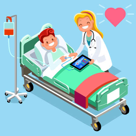 Medical isometric people cartoon doctor tablet and hospital technology illustration. Çizim