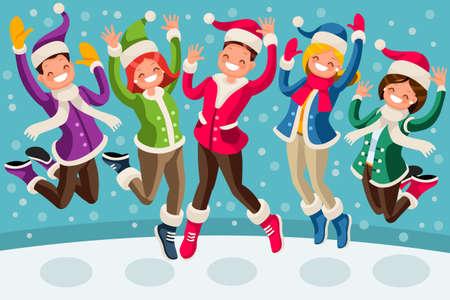 Família de desenhos animados de pessoas isométricas pulando e sorrindo para uma feliz ilustração de inverno. Foto de archivo - 83173086