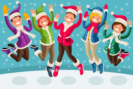 Isometric people cartoon family jumping and smiling for happy winter illustration.