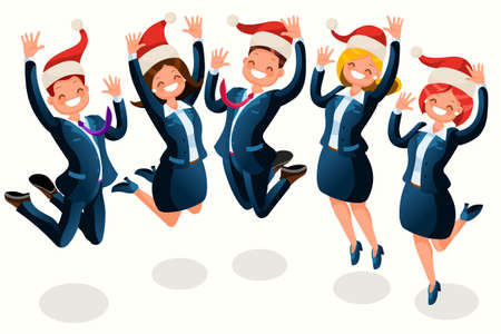 Office Christmas party isometric people cartoon business people with Santa hat illustration.