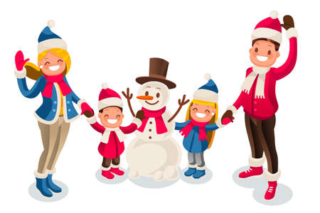 Christmas winter holidays isometric people cartoon family and happy snowman illustration.