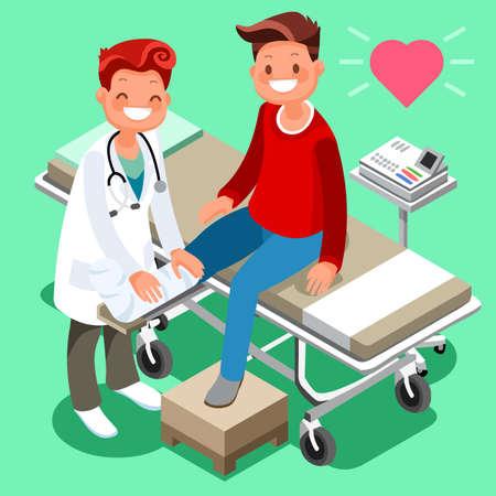 Mannelijke arts en man patiënt isometrische cartoon mensen voor medische raadpleging gezondheidszorg concept pictogrammen.