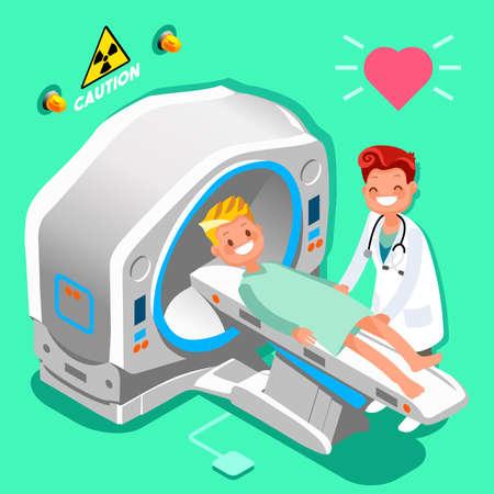 病院医療診断装置等尺性人々 は、医師や患者の画像を漫画します。  イラスト・ベクター素材