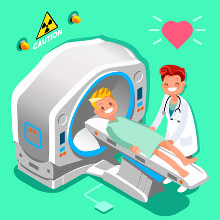 Hospital medical diagnostics equipment isometric people cartoon doctor and patient images. Vectores