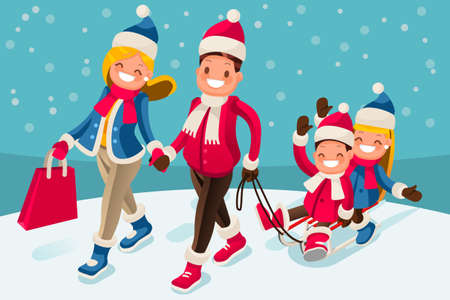 Christmas family in winter holidays isometric people cartoon walking parents carry children sled illustration.