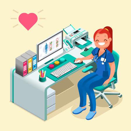 女性医師や看護師漫画等尺性人々 コンピューター病院技術ヘルスケアの概念図。  イラスト・ベクター素材