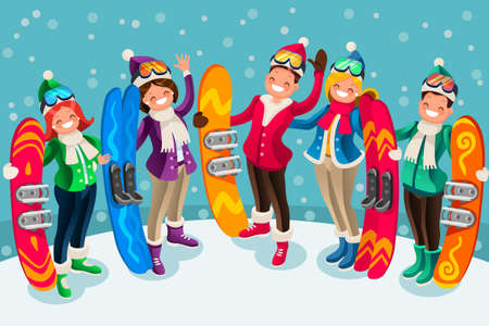 Winter sports active leisure isometric people cartoon characters ski and snowboard icons illustration.
