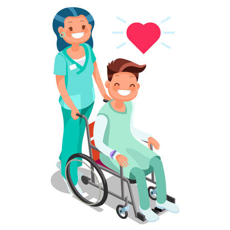 Nurse with patient in wheelchair isometric people cartoon vector