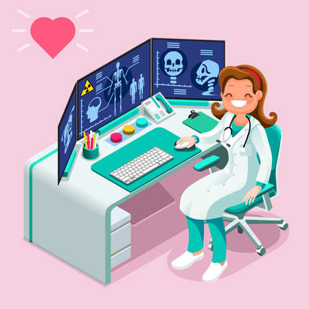 Hospital computer healthcare data isometric people vector cartoon