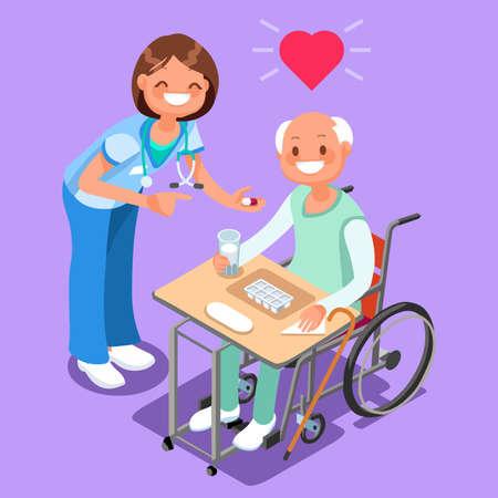Pielęgniarka z pacjentem w szpitalu izometryczny ludzie kreskówka wektor