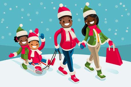 冬の家族旅行等尺性人黒漫画文字ベクトル  イラスト・ベクター素材