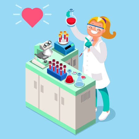 Laboratoire clinique de recherche clinique isométrique icône de vecteur de personnage de dessin animé