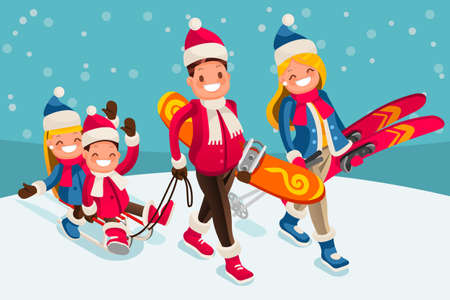 Family in the snow skiing people isometric cartoon character vector