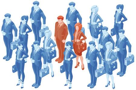 Mensen vector human resource vector hr concept. 3D platte isometrische zakenmensen.
