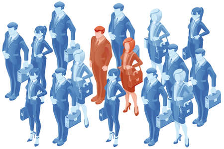 People vector human resource vector hr concept. 3D flat isometric business people. Illustration