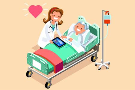 Hogere patiënt in het ziekenhuisbed. Een arts die een zieke bejaarde vrouw behandelt die in een medisch bed ligt. Vectorillustratie in een vlakke stijl Vector Illustratie