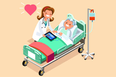 Senior patient in hospital bed. A doctor taking care of a sick elderly woman lying in a medical bed. Vector illustration in a flat style