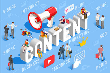 Content marketing concept vector illustration.