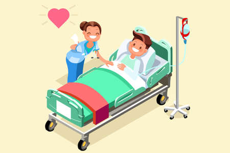 Patient hospital bed hospitalization concept. Nurse with a sick person that is in a medical bed on a drip. Vector illustration in a flat style