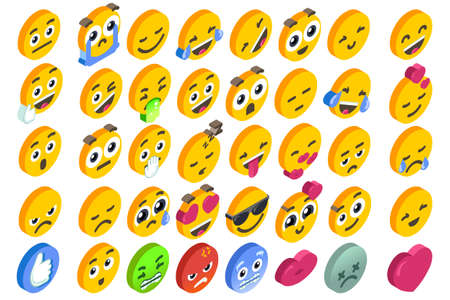 Emoji Set emoticon reactions.  3D flat design isometric icons hearth angry or smile face and like button. Vectores