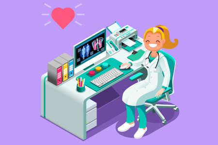 Doctor cartoon.female physician at desk in hospital office. Medical people character illustration in isometric style.
