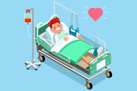 Patient in hospital bed with fracture of leg or leg injury. Medical rehabilitation after trauma. Orthopedics and medicine. Flat 3d vector isometric people illustration