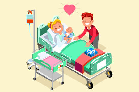Pregnancy and birth cartoon vector illustration. Pregnant mother young girl in hospital bed with newborn baby new mom with child. Maternity and medical infographic isometric people design Stock Vector - 86086210