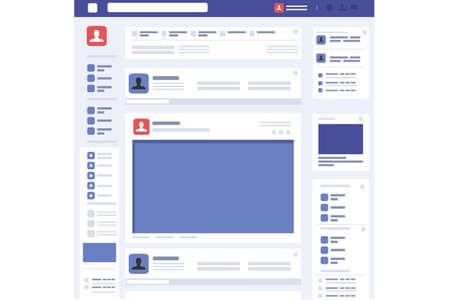 Social page profile web interface. Concept in flat design vector illustration. 矢量图像
