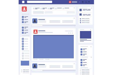 Sociale pagina profiel webinterface. Concept in platte ontwerp vectorillustratie. Stock Illustratie