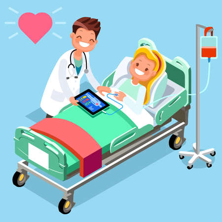 Isometric medical staff group of doctor and patient 3D flat people emotions in isometric cartoon style medical icon vector illustration.