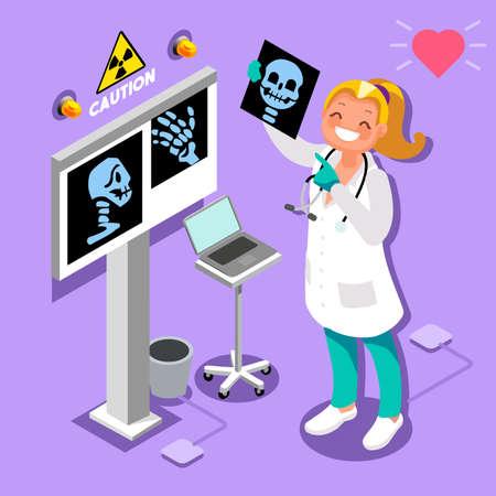 의사가 병원에서 컴퓨터 방사선 3D 아이콘 아이소 메트릭 스타일에서 아이소 메트릭 사람들 감정 만화 스타일 의료 아이콘 벡터 일러스트 레이 션.