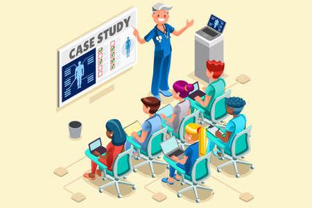 Groep van artsen en verpleegkundigen groep vector stripfiguren klinische team in medische vergadering. 3D Isometrische mensen plat ontwerp.