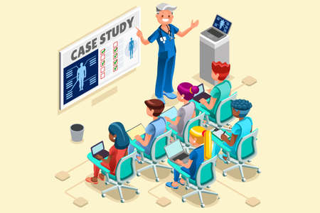 Group of doctors and nurses group vector cartoon characters clinical team in medical meeting. 3D Isometric people flat design. Illustration