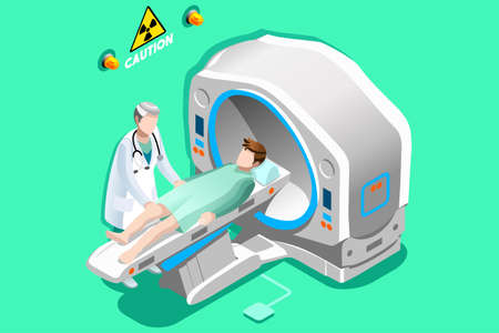 Mri scan. Doctor and patient lying down in mri machine for ct brain scan. Hospital technology concept. 3D Flat isometric people vector illustration. Illustration