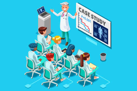 Clinic medical research trial isometric people meeting or doctor training health infograph 3D flat cartoon character vector illustration. Illustration