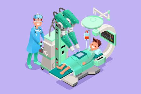 Ziekenhuis medische operatie apparaten en medische arts. Geneeskunde vector cartoon karakter 3D vlakke isometrische pictogram.